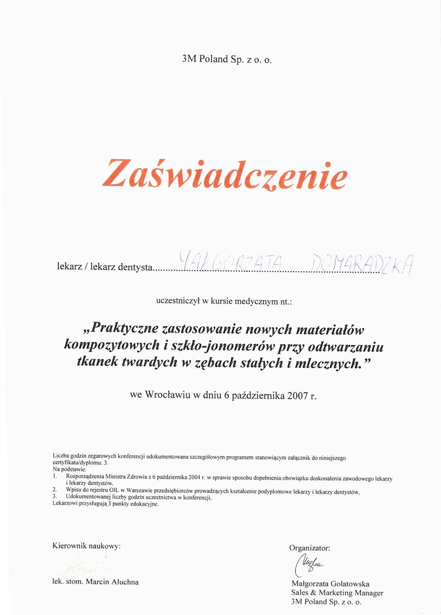 Certyfikat Małgorzata Domaradzka