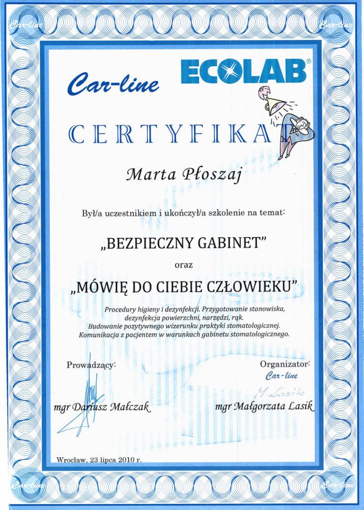 Certyfikat Marta Kwiatek