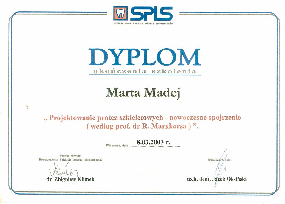 Certyfikat Marta Madej